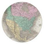 Vintage Map of North America (1827) Dinner Plates