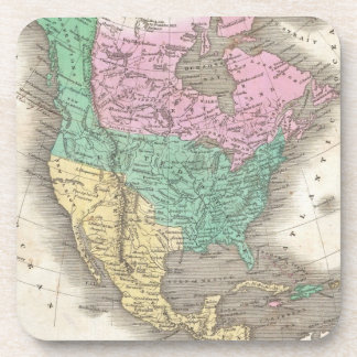 Vintage Map of North America (1827) Drink Coaster