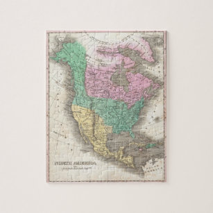 Old North America Map Jigsaw Puzzles Zazzle