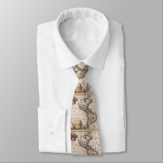 Vintage Map of North and South America (1658) Tie