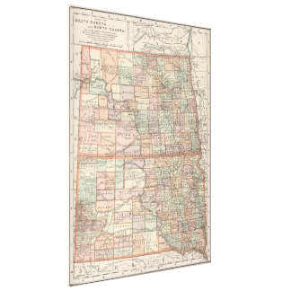 Vintage Map of North and South Dakota (1891) Canvas Print