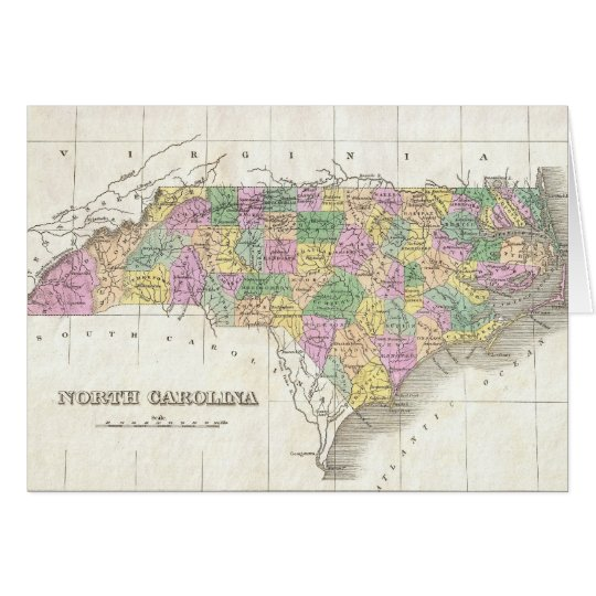 Vintage Map of North Carolina (1827) Card