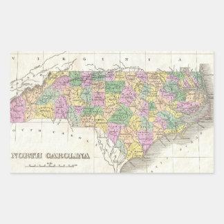 Vintage Map of North Carolina (1827) Rectangular Stickers