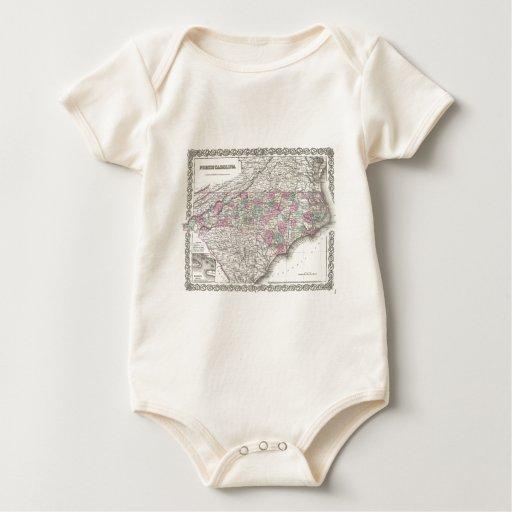 Vintage Map of North Carolina (1855) Baby Bodysuit