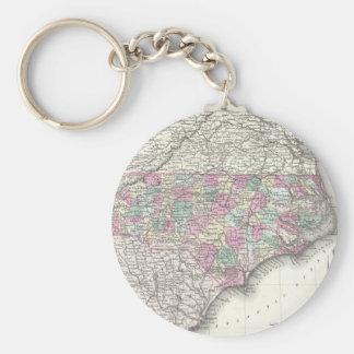 Vintage Map of North Carolina (1855) Basic Round Button Keychain