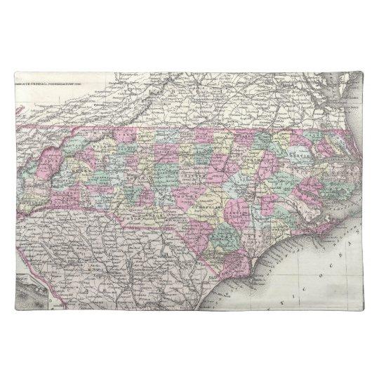 Vintage Map of North Carolina (1855) Cloth Placemat