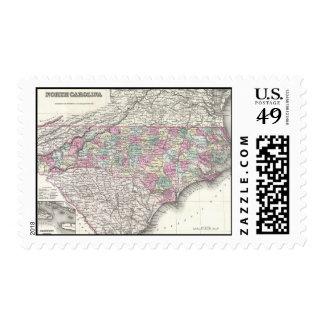 Vintage Map of North Carolina (1855) Postage Stamps