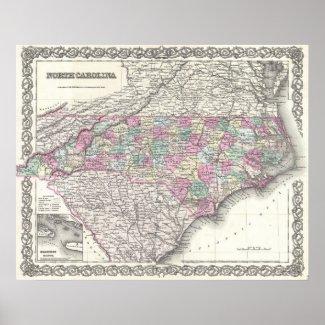Vintage Map of North Carolina (1855) Print