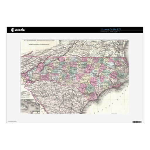 "Vintage Map of North Carolina (1855) 15"" Laptop Decal"