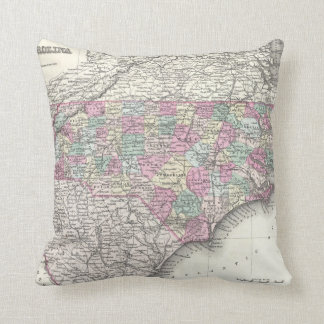 Vintage Map of North Carolina (1855) Throw Pillow