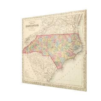 Vintage Map of North Carolina (1859) Canvas Print