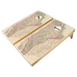 Vintage Map of North Carolina (1859) Cornhole Set