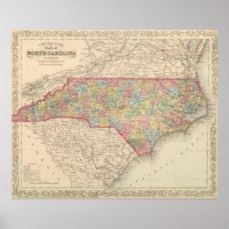 Vintage Map of North Carolina (1859) Poster