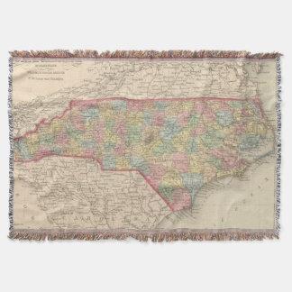 Vintage Map of North Carolina (1859) Throw Blanket