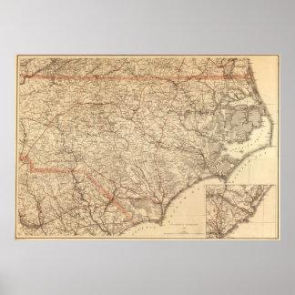 Vintage Map of North Carolina (1865) Poster