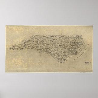Vintage Map of North Carolina (1893) Poster