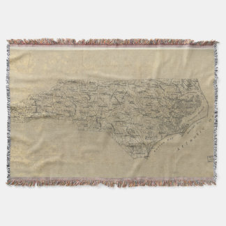 Vintage Map of North Carolina (1893) Throw Blanket
