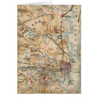 Vintage Map of Northeastern Virginia (1862) Greeting Card
