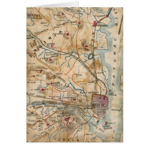 Vintage Map of Northeastern Virginia (1862) Card
