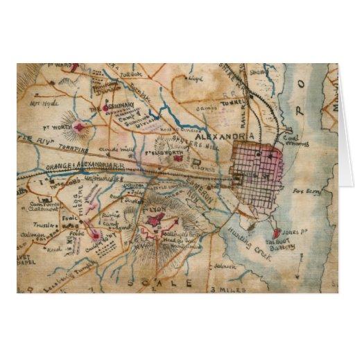 Vintage Map of Northeastern Virginia (1862) Greeting Cards