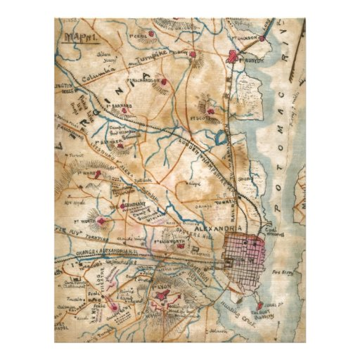 Vintage Map of Northeastern Virginia (1862) Letterhead