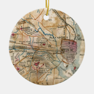Vintage Map of Northeastern Virginia (1862) Double-Sided Ceramic Round Christmas Ornament