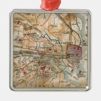Vintage Map of Northeastern Virginia (1862) Square Metal Christmas Ornament