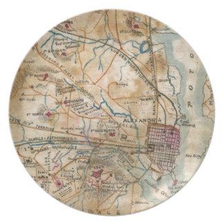 Vintage Map of Northeastern Virginia (1862) Dinner Plate