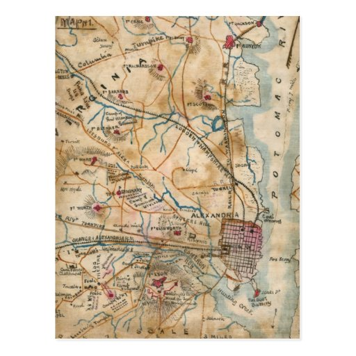 Vintage Map of Northeastern Virginia (1862) Postcards