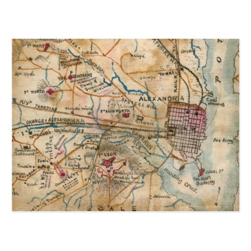 Vintage Map of Northeastern Virginia (1862) Postcard