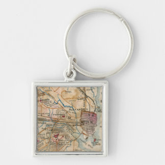Vintage Map of Northeastern Virginia (1862) Silver-Colored Square Keychain