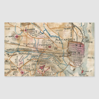 Vintage Map of Northeastern Virginia (1862) Rectangular Sticker