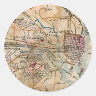 Vintage Map of Northeastern Virginia (1862) Classic Round Sticker