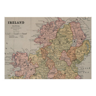 Vintage Map of Northern Ireland (1883) Poster