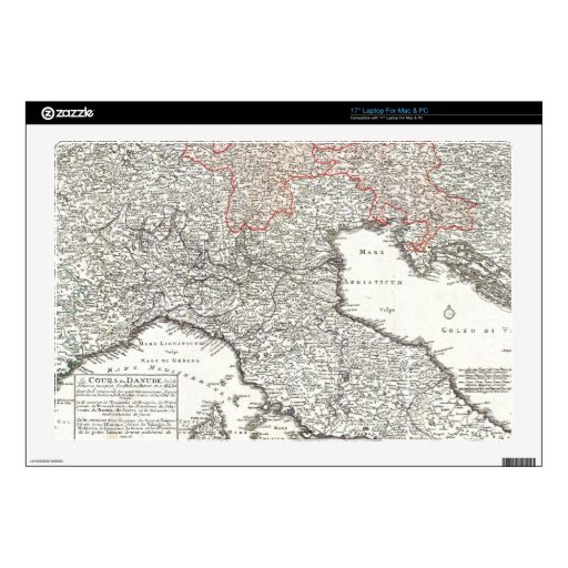 Vintage Map of Northern Italy (1720) Laptop Decals