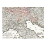 Vintage Map of Northern Italy (1720) Postcard