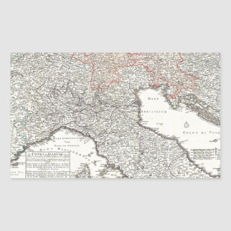 Vintage Map of Northern Italy (1720) Rectangular Sticker