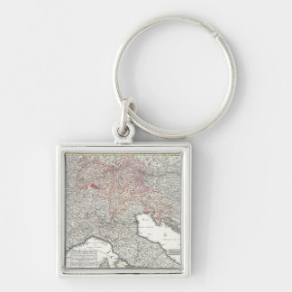 Vintage Map of Northern Italy (1720) Silver-Colored Square Keychain
