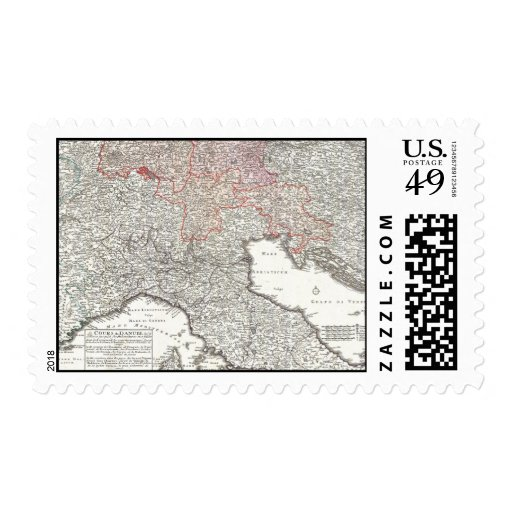 Vintage Map of Northern Italy (1720) Stamp
