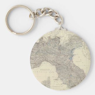 Vintage Map of Northern Italy (1861) Basic Round Button Keychain