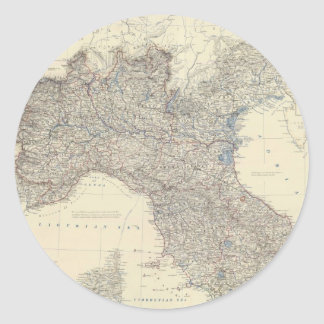 Vintage Map of Northern Italy (1861) Classic Round Sticker