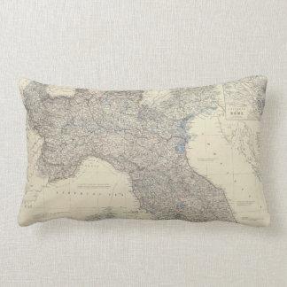 Vintage Map of Northern Italy (1861) Lumbar Pillow