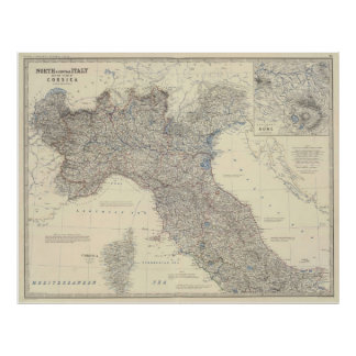 Vintage Map of Northern Italy (1861) Poster