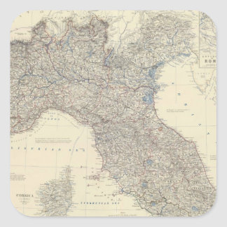 Vintage Map of Northern Italy (1861) Square Sticker