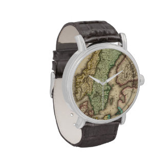 Vintage Map of Norway and Sweden (1831) Wrist Watches