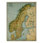 Vintage Map of Norway and Sweden (1921) Poster