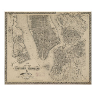 Vintage Map of NYC and Brooklyn (1855) Poster
