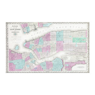 Vintage Map of NYC and Brooklyn (1861) Canvas Print
