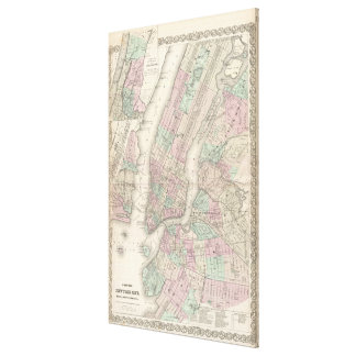 Vintage Map of NYC and Brooklyn (1865) Canvas Print