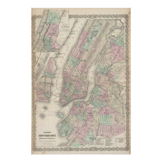 Vintage Map of NYC and Brooklyn (1865) Poster